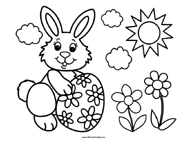 Easter Bunny Coloring Page AllFreePrintable.com