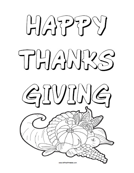 Free Printable Happy Thanksgiving Coloring Page