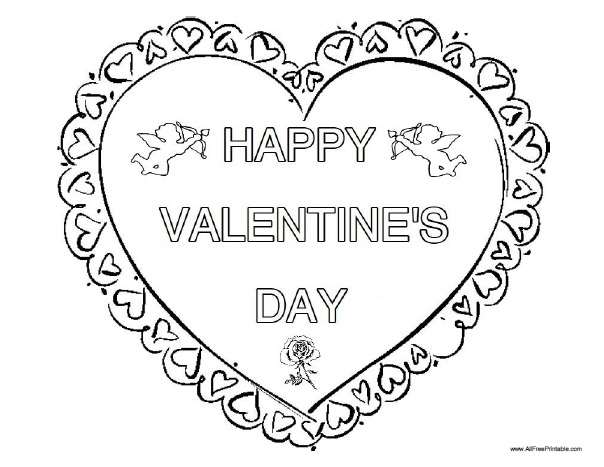 Free Printable Happy Valentine's Day Coloring Page