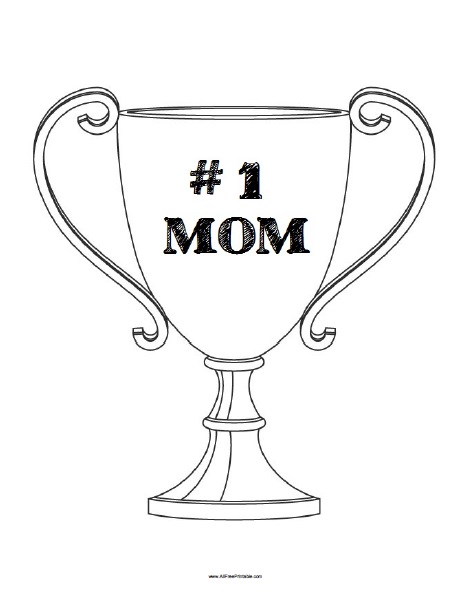 Free Printable Number 1 Mom Trophy Coloring Page