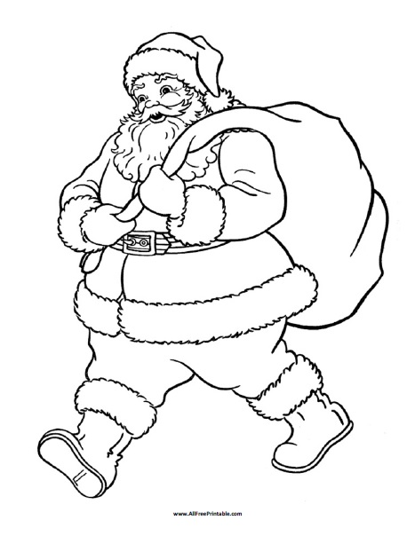 Santa Claus Coloring Page - Free Printable - AllFreePrintable.com