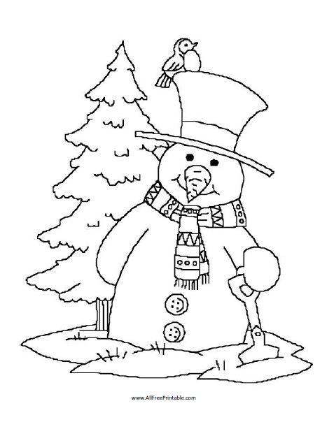 Free Printable Snowman Coloring Page