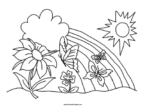 Spring Coloring Page - Free Printable - AllFreePrintable.com