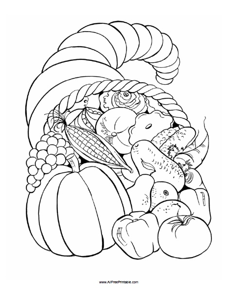 Thanksgiving Fruit Basket Coloring Page - Free Printable ...