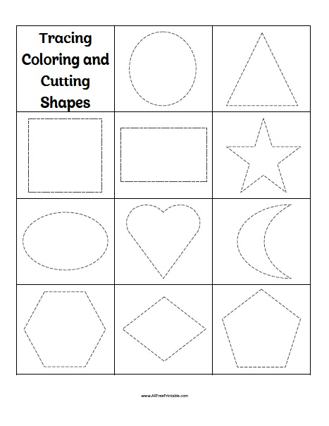 Free Printable Tracing Coloring Cutting Shapes Worksheets