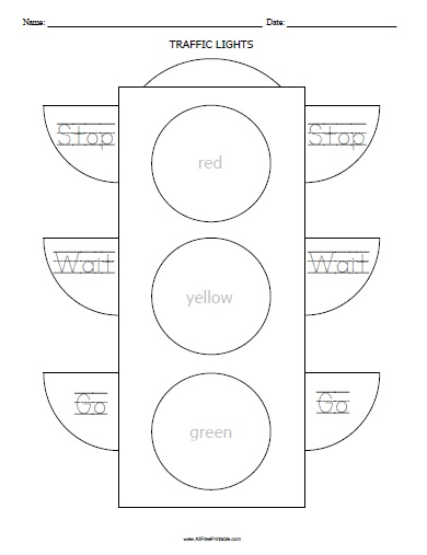 Free Printable Traffic Lights Worksheet