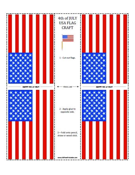 photograph about Printable Flags called 4th of July United states of america Flag Pencil Craft - Absolutely free Printable