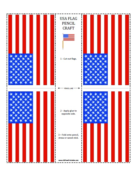 graphic relating to Printable Usa Flag identify US Flag Pencil Craft - Free of charge Printable -
