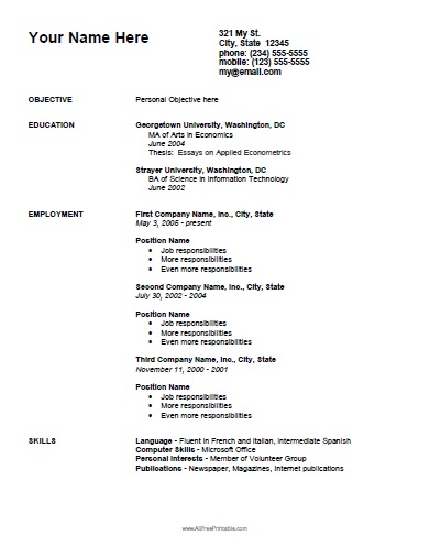 Free Printable Employment Curriculum Vitae Template