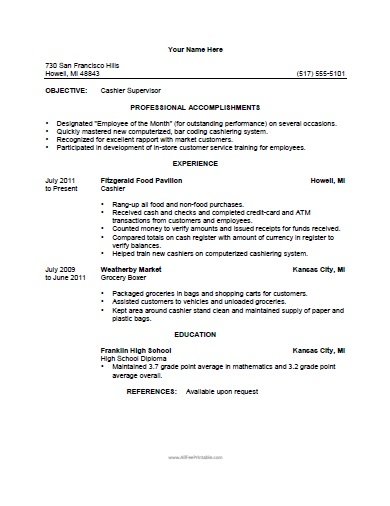 grocery store cashier resume samples - Sample Resume For A Cashier At Grocery Store