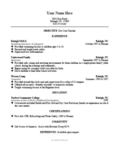 Free Printable Daycare Teacher Resume Template