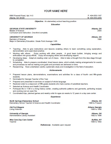elementary teacher resume template free printable format download creative templates