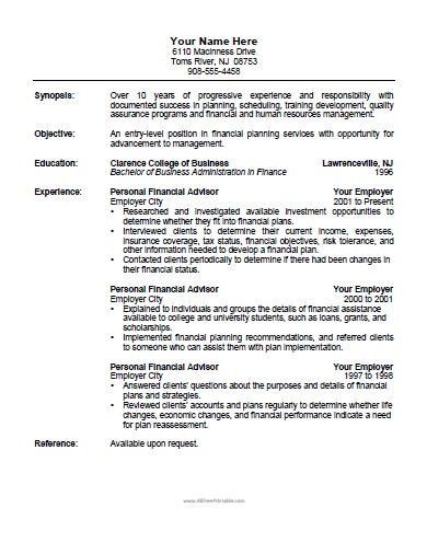 Financial Advisor Resume  CityEsporaCo