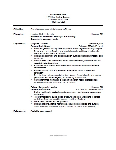 Nurse Resume Entry Level Nurse Resume Sample  Sample Resumes