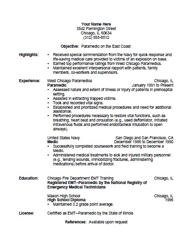 paramedic resume template free printable