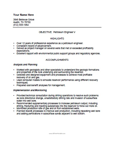 Free Printable Petroleum Engineer Resume Template