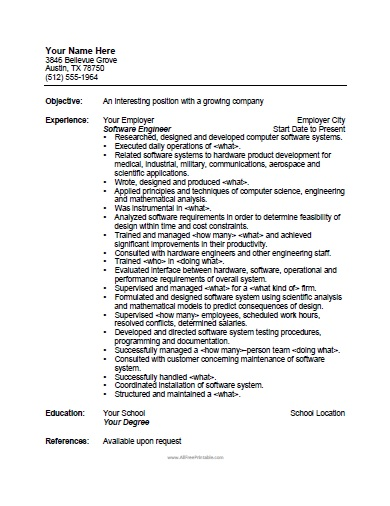 Free Printable Software Engineer Resume Template  Software Engineer Resume Template