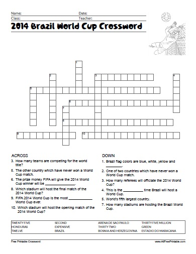 Free Printable 2014 Brazil World Cup Crossword