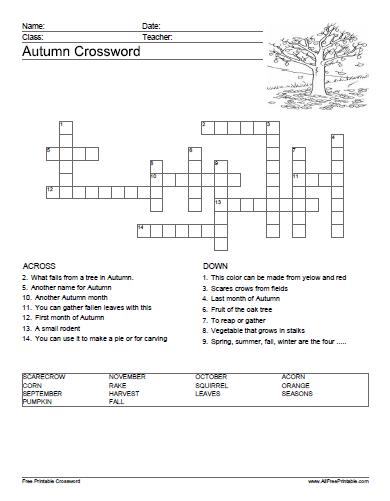 image about Printable Crossword Puzzles Pdf known as Autumn Crossword Puzzle - Free of charge Printable -