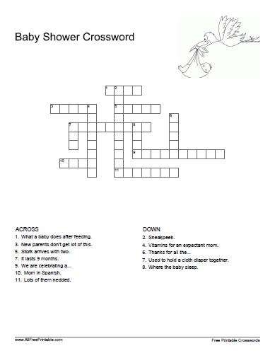 Free Printable Baby Shower Crossword Puzzle
