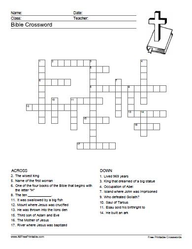 Free Printable Bible Crossword Puzzle