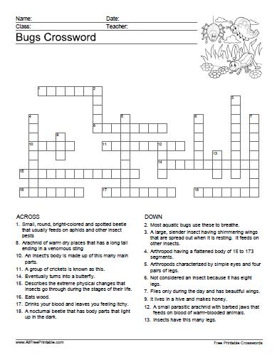 Free Printable Bugs Crossword Puzzle