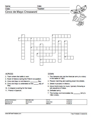 Free Printable Cinco de Mayo Crossword