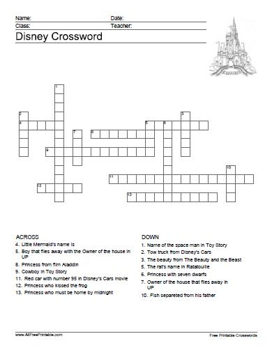 Disney Crossword Free Printable Allfreeprintable Com