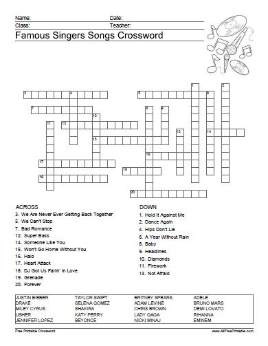 Free Printable Famous Singers Songs Crossword
