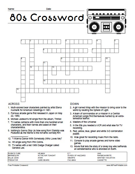 80\'s Crossword Puzzle - Free Printable - AllFreePrintable.com