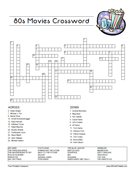 Free Printable 80's Movies Crossword