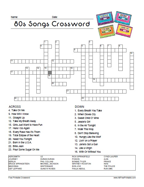 Free Printable 80's Songs Crossword