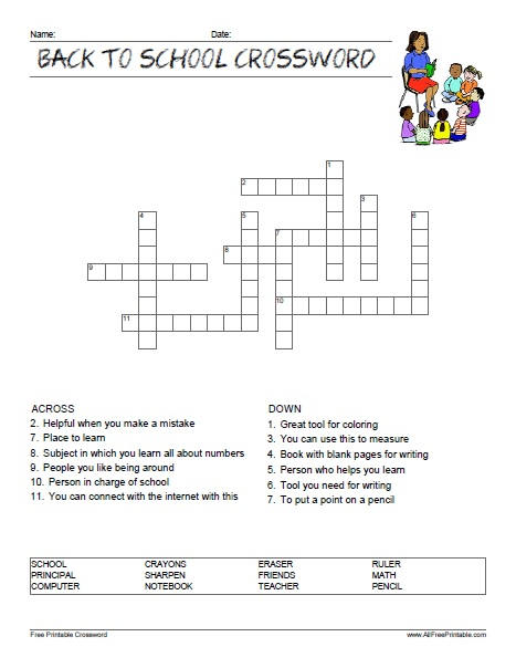 Back To School Crossword Puzzle Free Printable Allfreeprintable Com