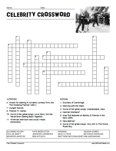 photograph regarding Easy Crossword Puzzle Printable known as Celeb Crossword Puzzle - No cost Printable