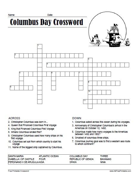Free Printable Columbus Day Crossword