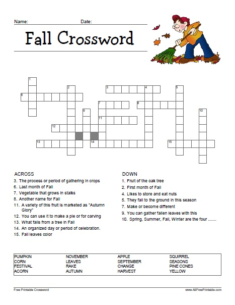 Free Printable Fall Crossword