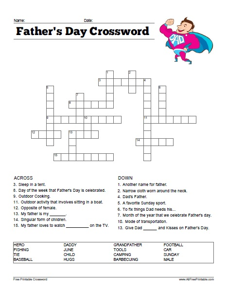 Free Printable Father's Day Crossword Puzzle