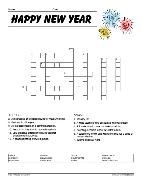 Free Printable Happy New Year Crossword