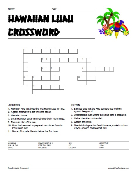 Free Printable Hawaiian Luau Crossword Puzzle