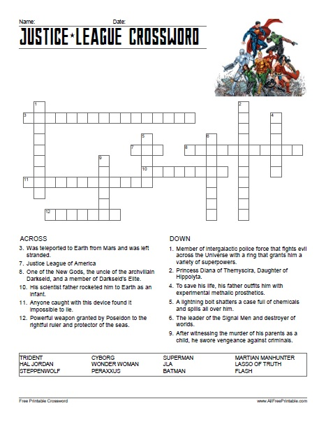 Free Printable Justice League Crossword