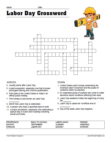picture regarding Labor Day Word Search Printable called Labor Working day Crossword - Absolutely free Printable -
