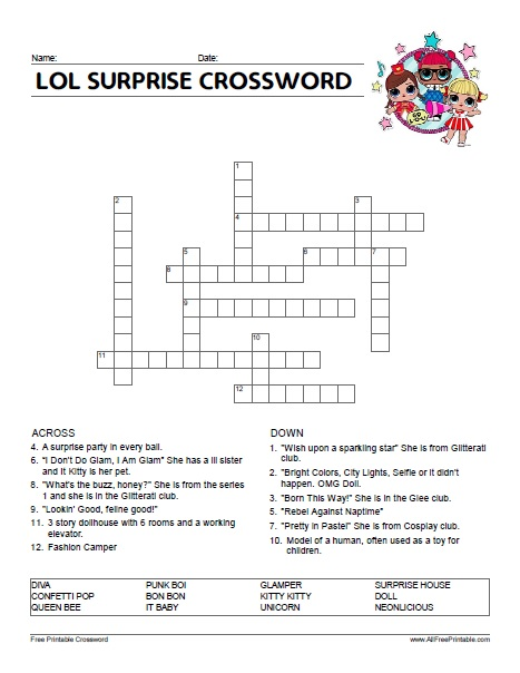 Free Printable LOL Surprise Crossword