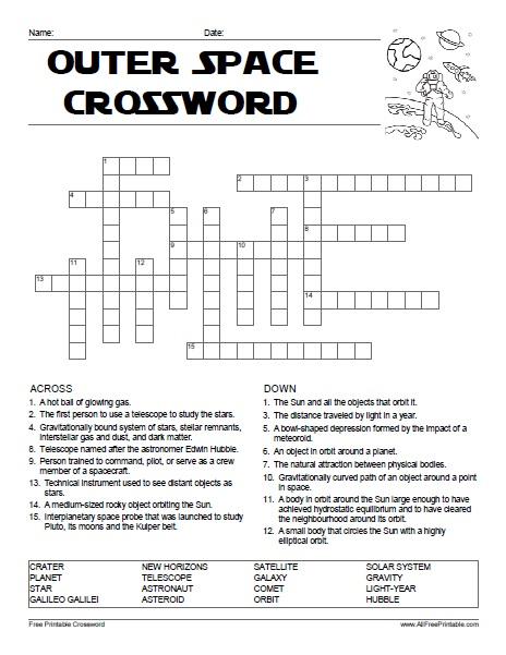 Free Printable Outer Space Crossword