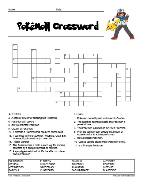 Free Printable Pokemon Crossword
