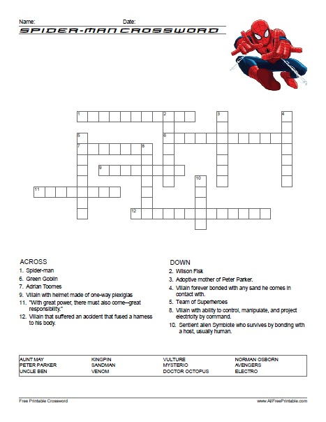 Free Printable Spider-Man Crossword