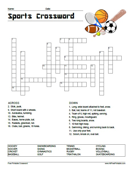 Sports Crossword Puzzle Free Printable Allfreeprintable Com