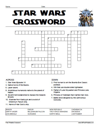 Free Printable Star Wars Crossword