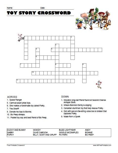 Free Printable Toy Story 4 Crossword
