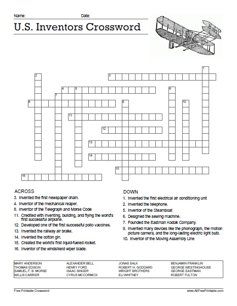 Free Printable U.S. Inventors Crossword