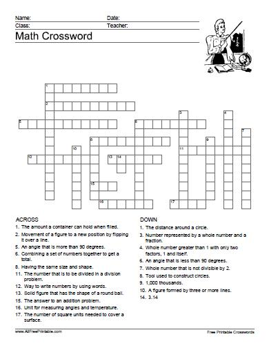 Free Printable Math Crossword Puzzle
